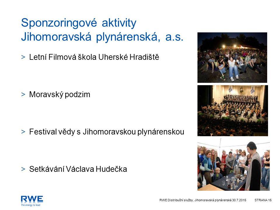 Sponzoringové aktivity Jihomoravská plynárenská, a.s.
