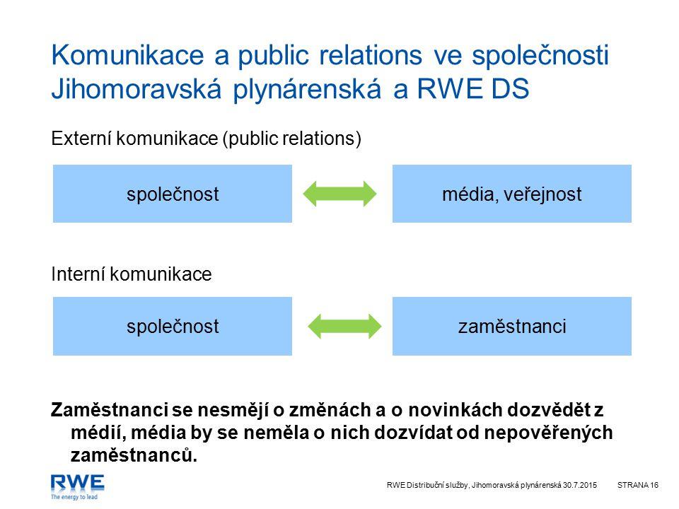 Komunikace a public relations ve společnosti Jihomoravská plynárenská a RWE DS
