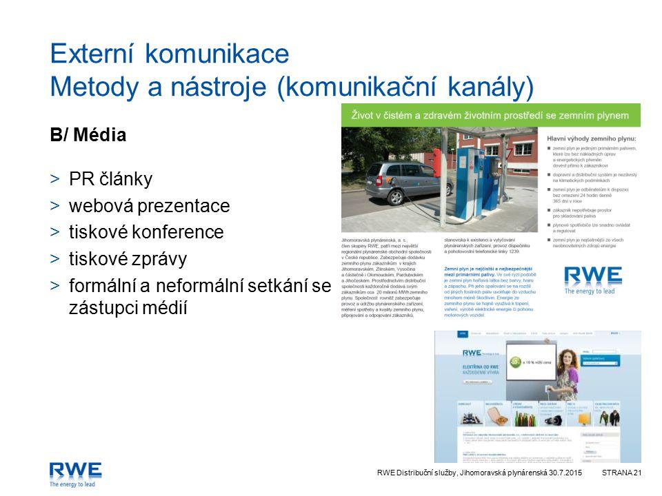 Externí komunikace Metody a nástroje (komunikační kanály)