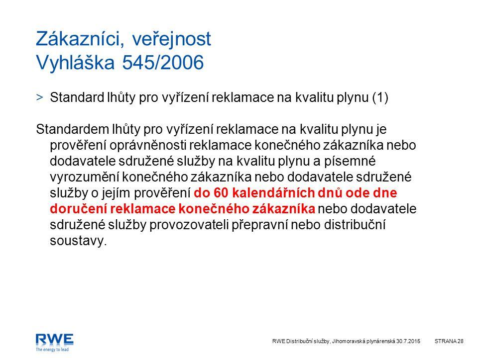 Zákazníci, veřejnost Vyhláška 545/2006