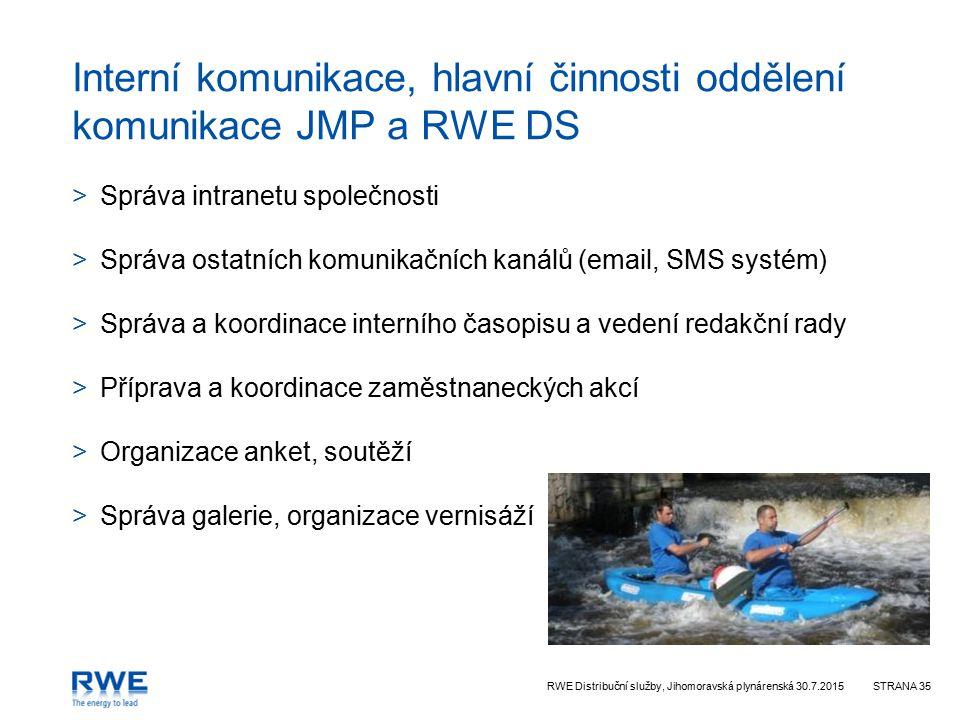 Interní komunikace, hlavní činnosti oddělení komunikace JMP a RWE DS