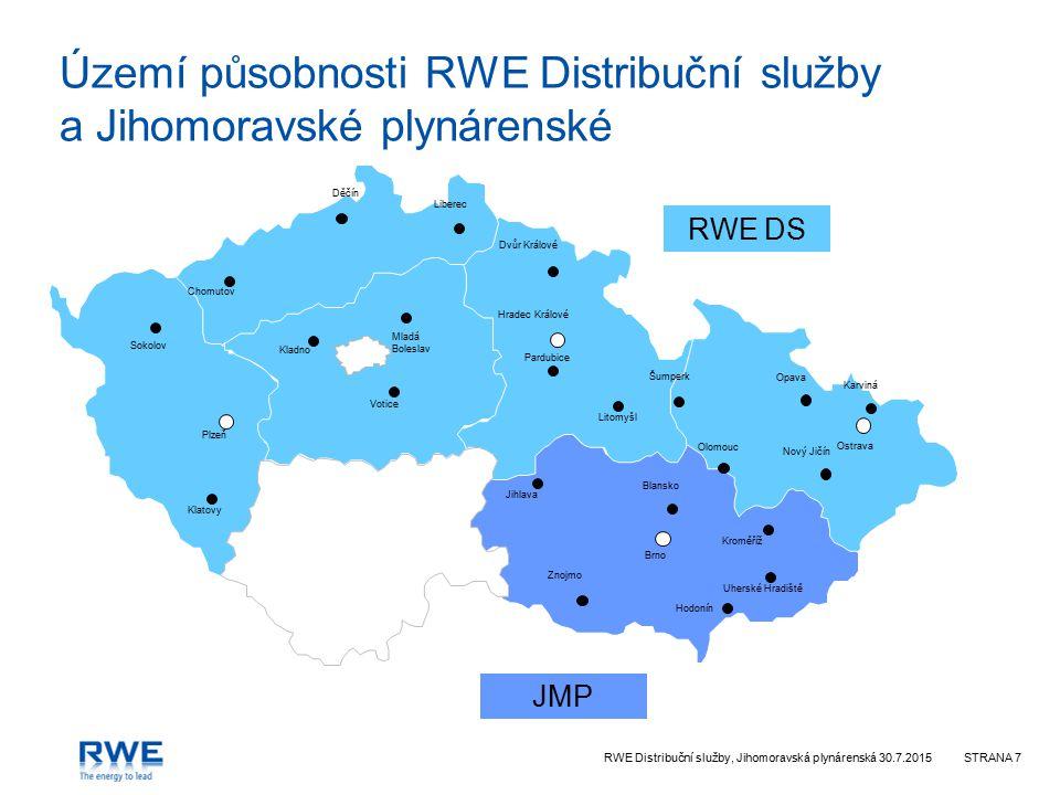 Území působnosti RWE Distribuční služby a Jihomoravské plynárenské