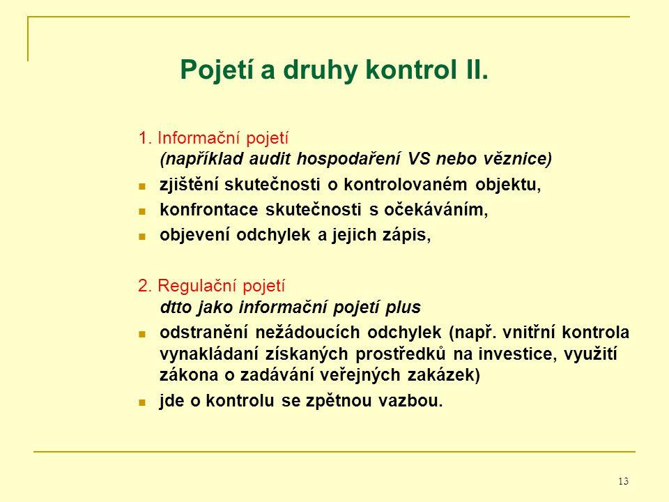 Pojetí a druhy kontrol II.