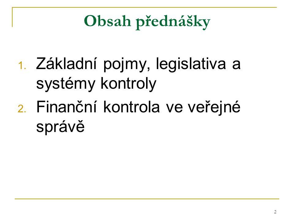 Obsah přednášky Základní pojmy, legislativa a systémy kontroly