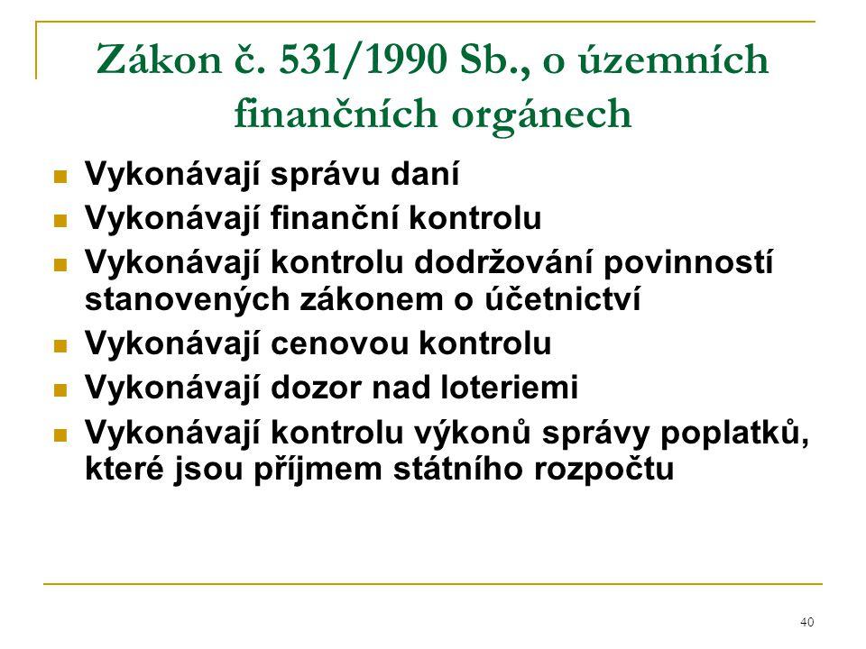 Zákon č. 531/1990 Sb., o územních finančních orgánech