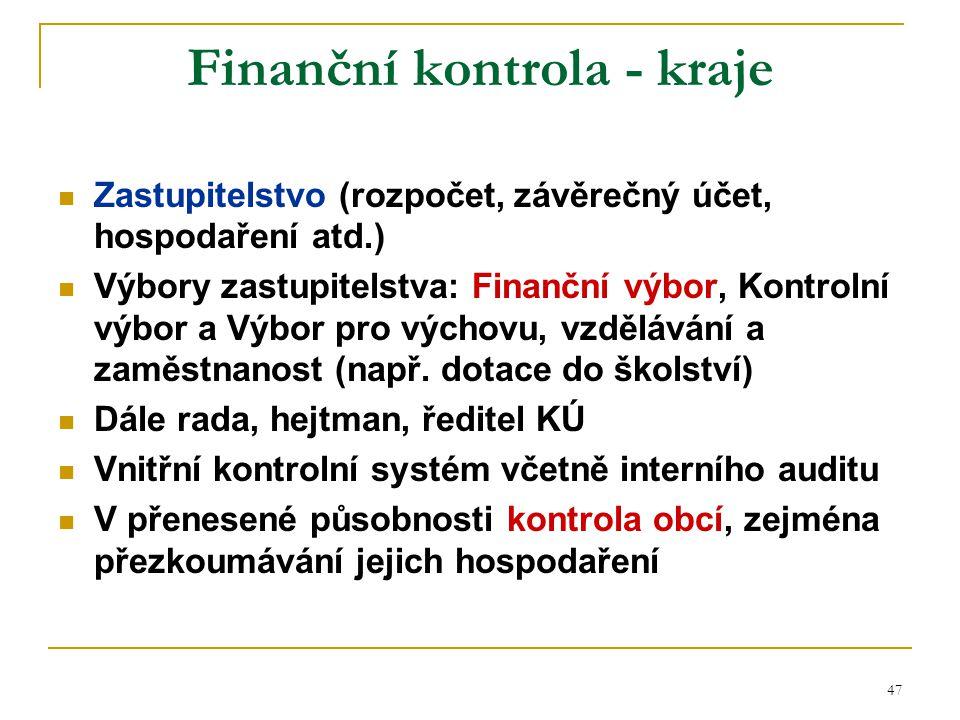 Finanční kontrola - kraje