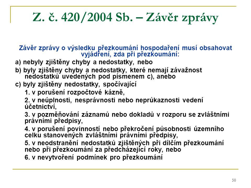 Z. č. 420/2004 Sb. – Závěr zprávy Závěr zprávy o výsledku přezkoumání hospodaření musí obsahovat vyjádření, zda při přezkoumání: