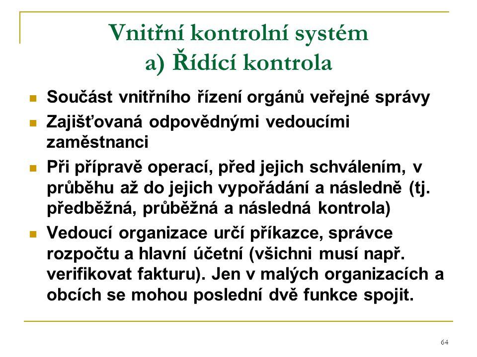 Vnitřní kontrolní systém a) Řídící kontrola