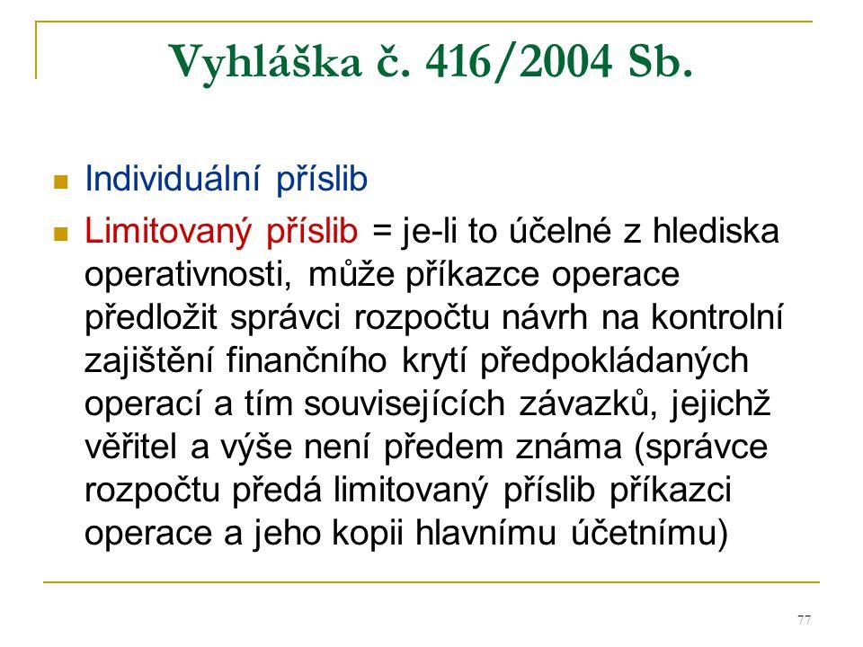 Vyhláška č. 416/2004 Sb. Individuální příslib