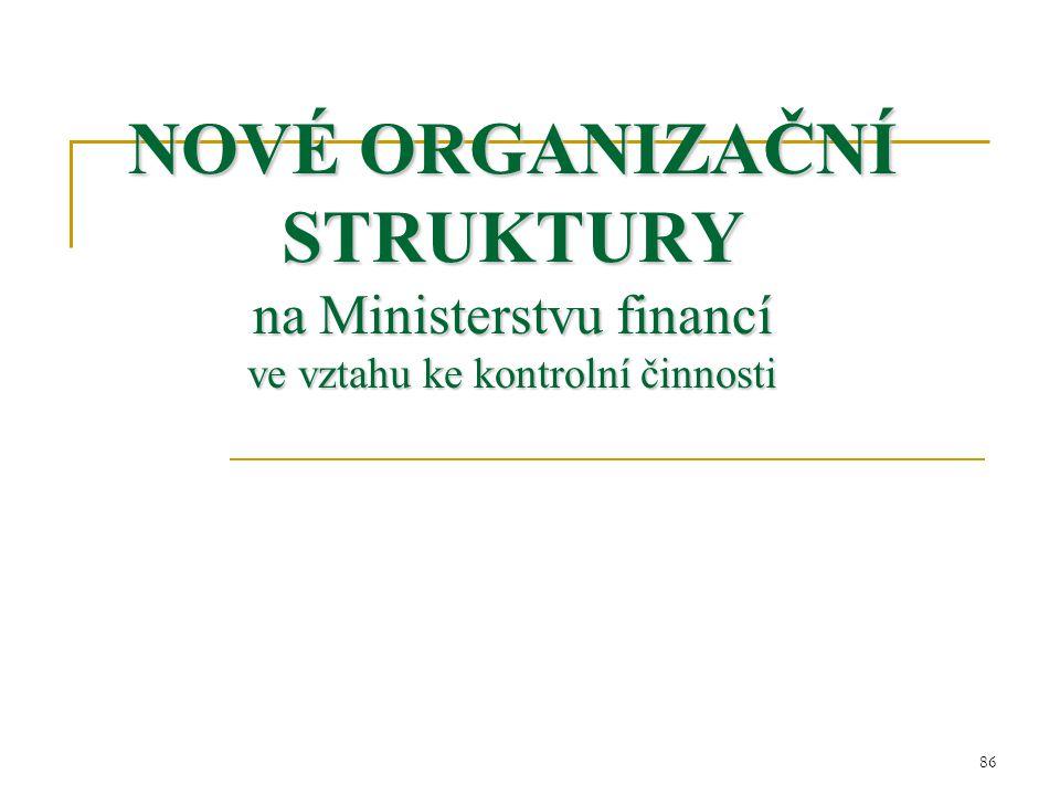 NOVÉ ORGANIZAČNÍ STRUKTURY na Ministerstvu financí ve vztahu ke kontrolní činnosti