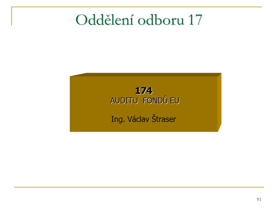 Oddělení odboru 17 174 AUDITU FONDŮ EU Ing. Václav Štraser