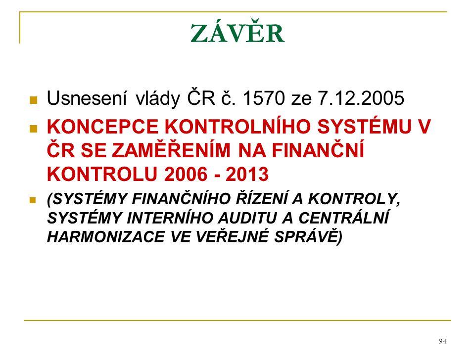 ZÁVĚR Usnesení vlády ČR č. 1570 ze 7.12.2005