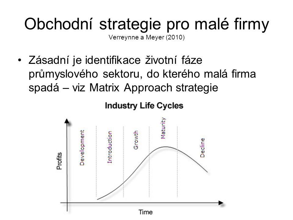 Obchodní strategie pro malé firmy Verreynne a Meyer (2010)