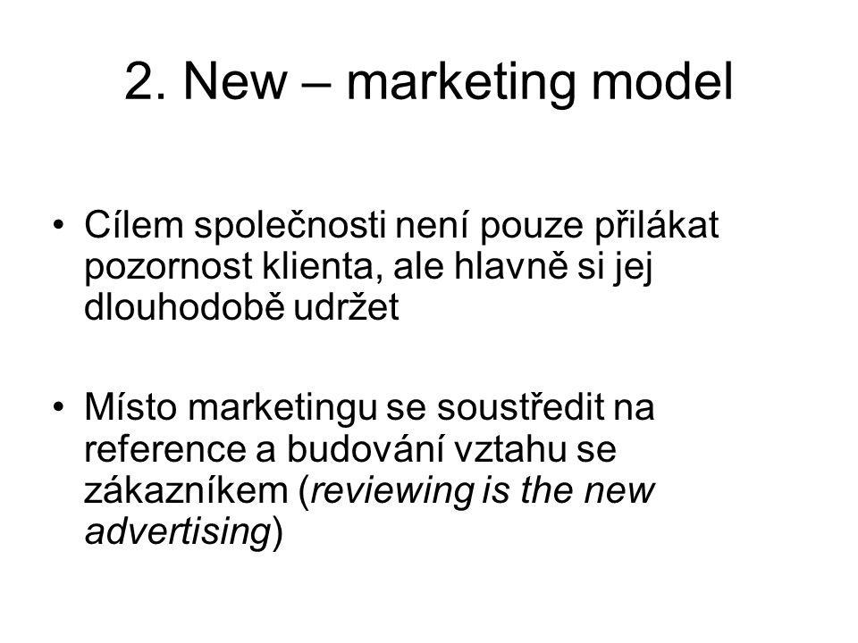 2. New – marketing model Cílem společnosti není pouze přilákat pozornost klienta, ale hlavně si jej dlouhodobě udržet.