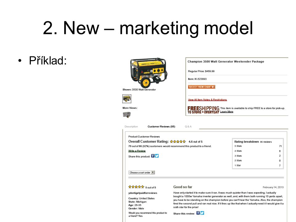 2. New – marketing model Příklad: