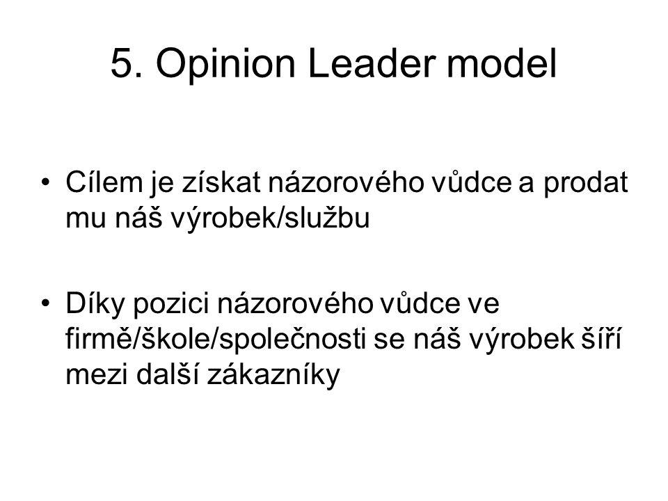 5. Opinion Leader model Cílem je získat názorového vůdce a prodat mu náš výrobek/službu.