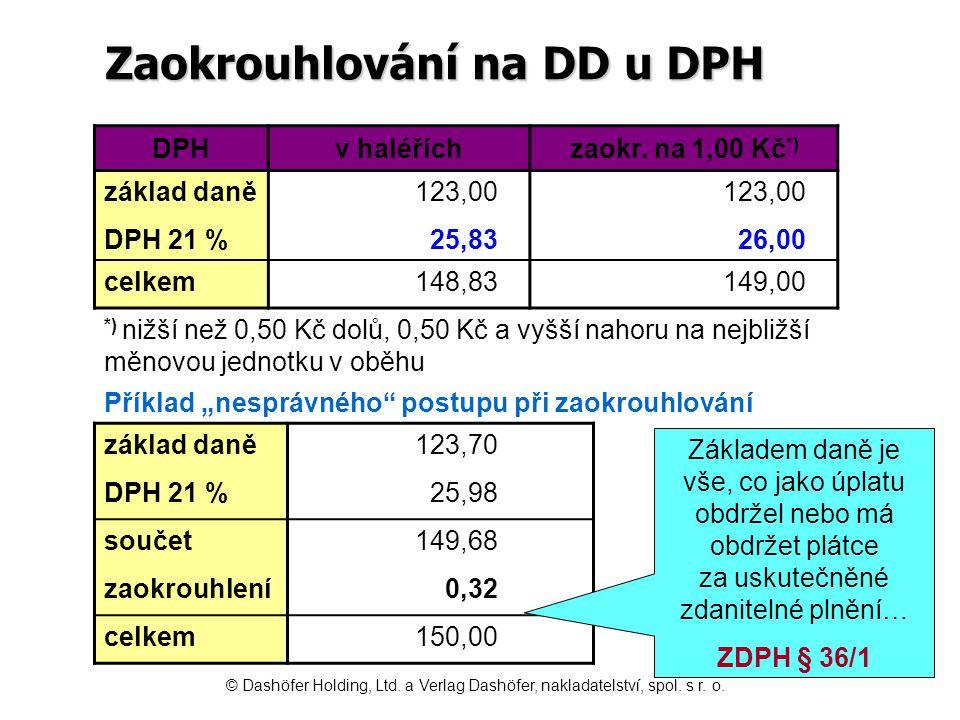 Zaokrouhlování na DD u DPH