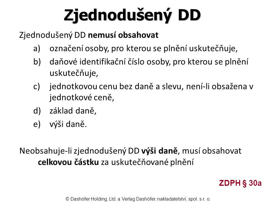 Zjednodušený DD Zjednodušený DD nemusí obsahovat