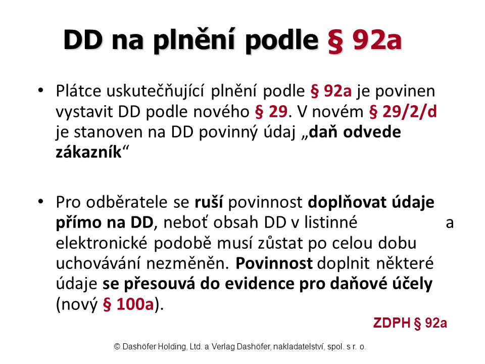 DD na plnění podle § 92a