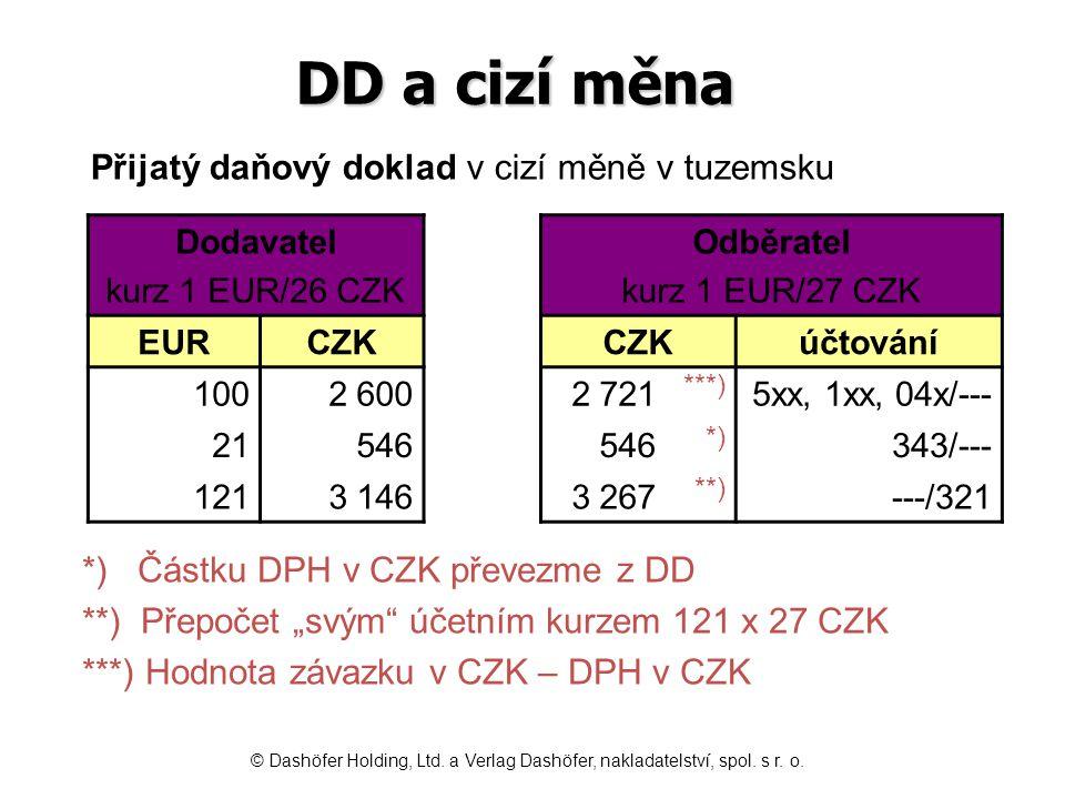DD a cizí měna ***) *) **)