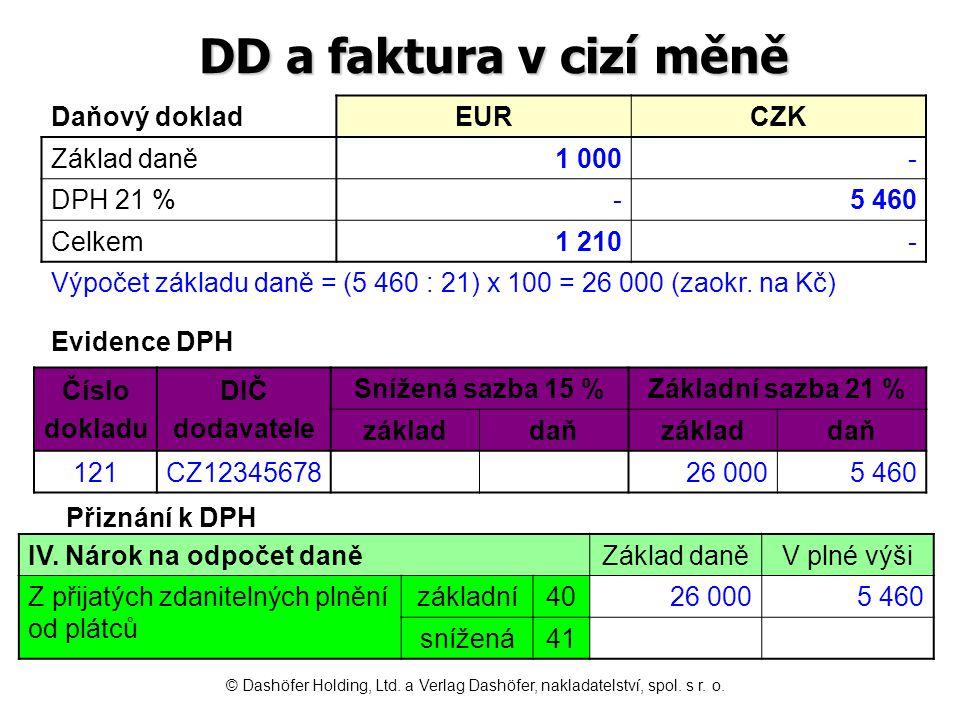 DD a faktura v cizí měně Daňový doklad EUR CZK Základ daně 1 000 -