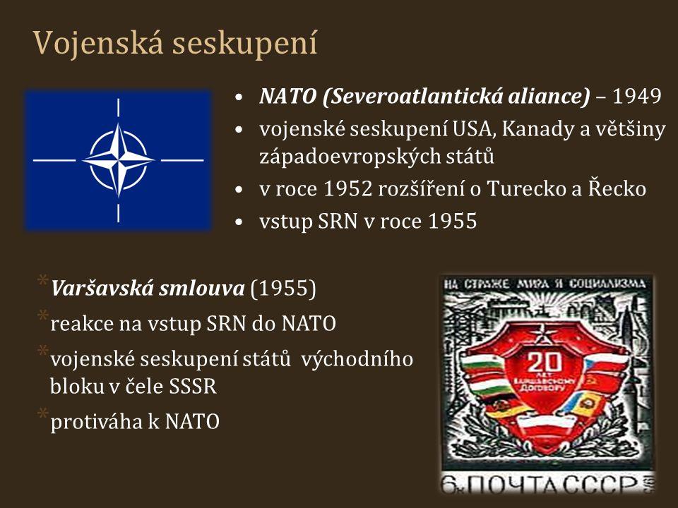 Vojenská seskupení NATO (Severoatlantická aliance) – 1949