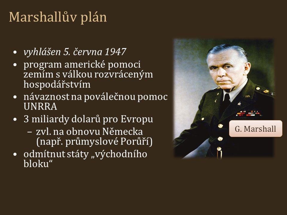 Marshallův plán vyhlášen 5. června 1947