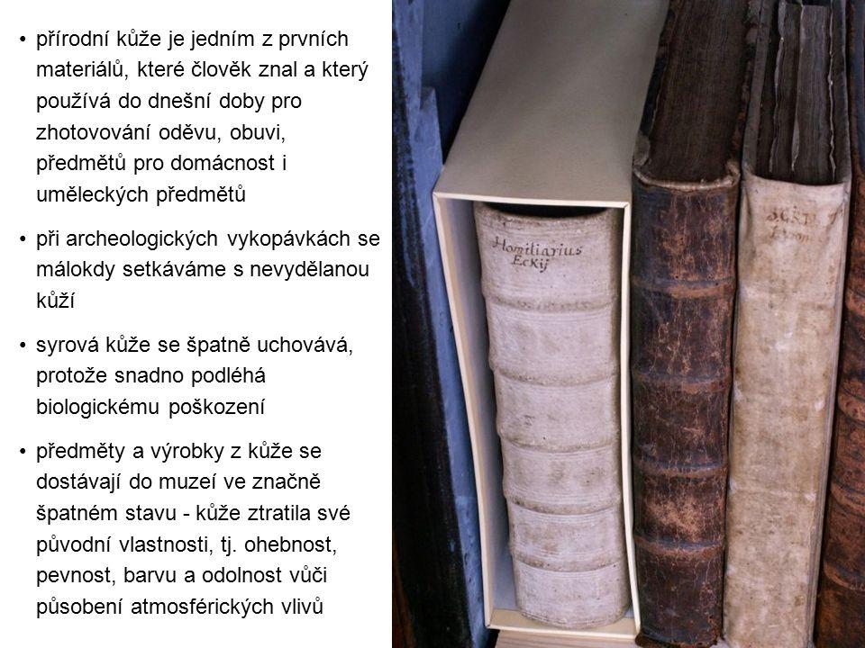 přírodní kůže je jedním z prvních materiálů, které člověk znal a který používá do dnešní doby pro zhotovování oděvu, obuvi, předmětů pro domácnost i uměleckých předmětů