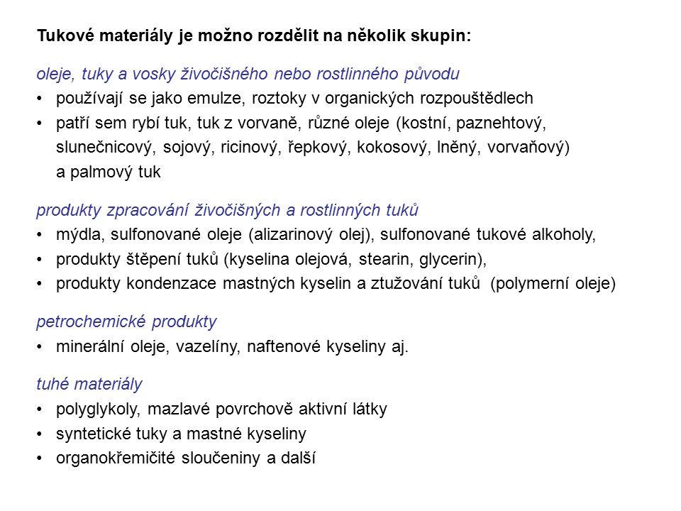 Tukové materiály je možno rozdělit na několik skupin: