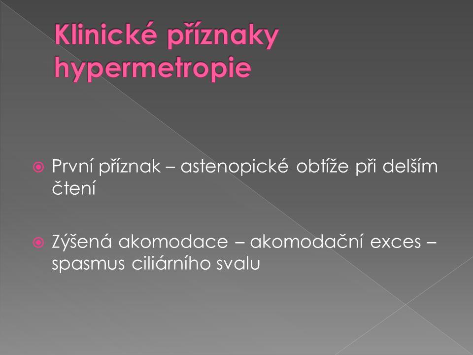 Klinické příznaky hypermetropie