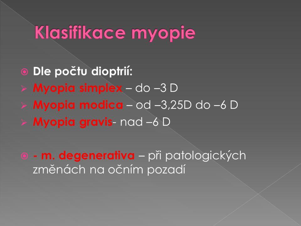 Klasifikace myopie Dle počtu dioptrií: Myopia simplex – do –3 D