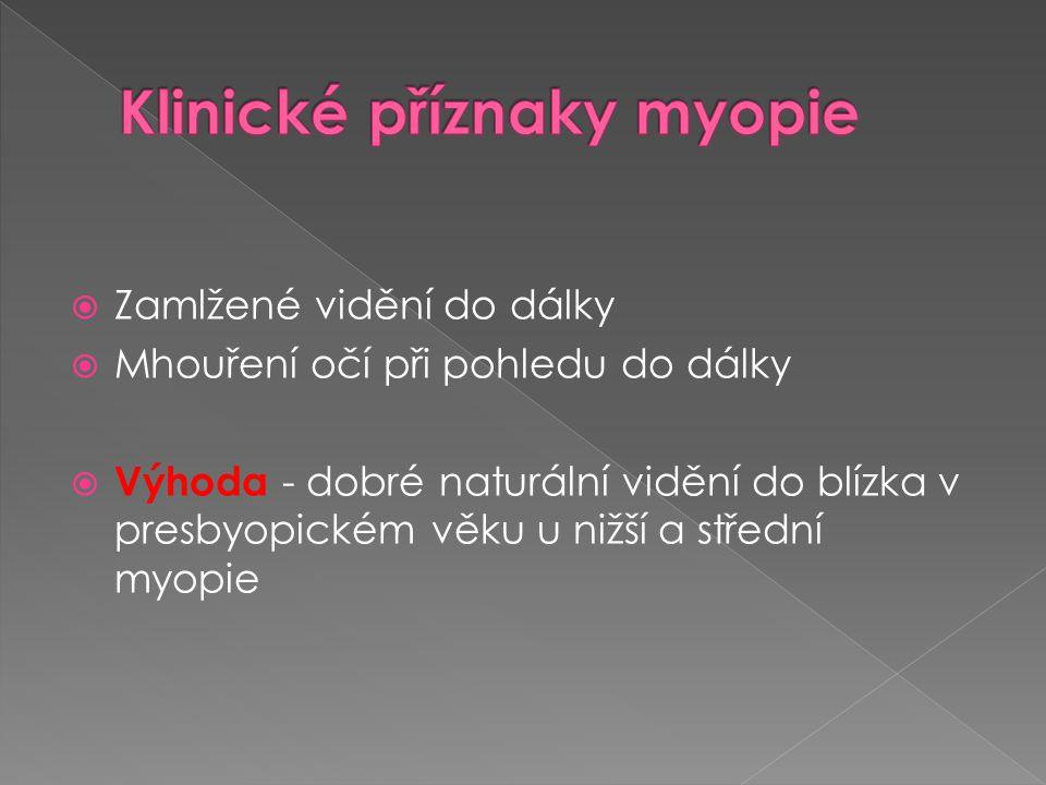 Klinické příznaky myopie
