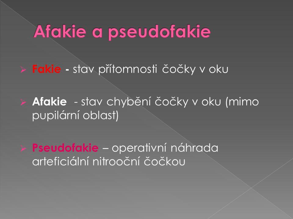 Afakie a pseudofakie Fakie - stav přítomnosti čočky v oku