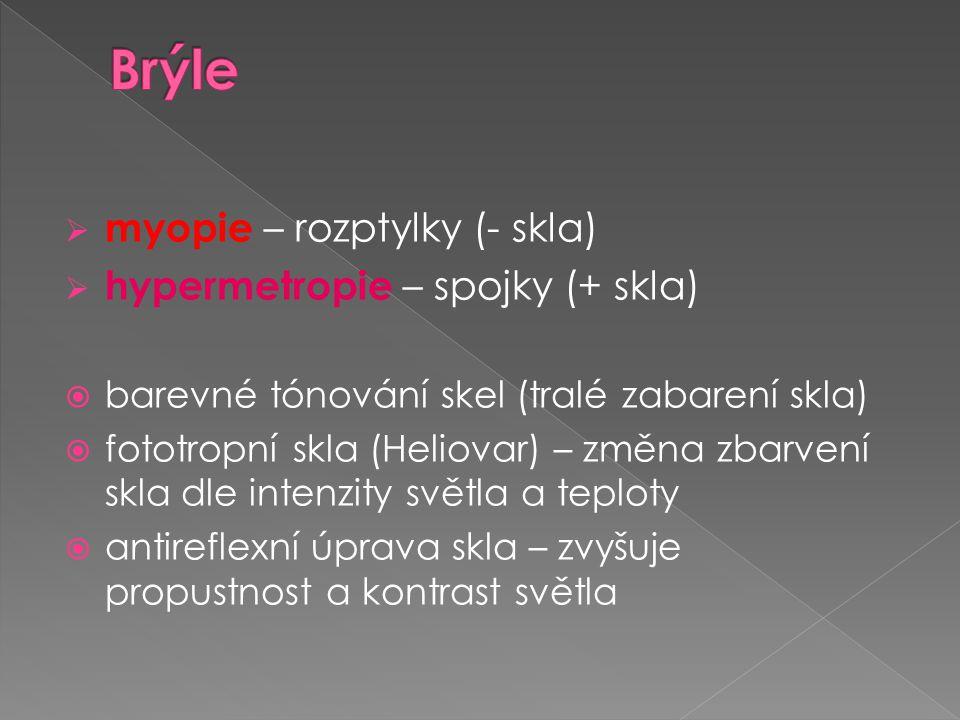 Brýle myopie – rozptylky (- skla) hypermetropie – spojky (+ skla)