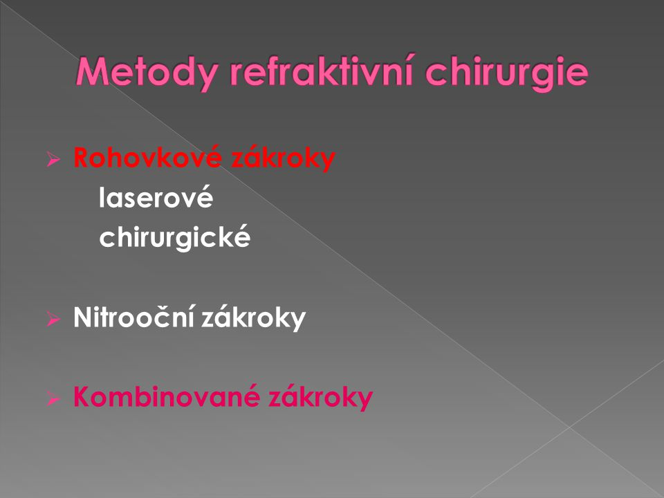 Metody refraktivní chirurgie