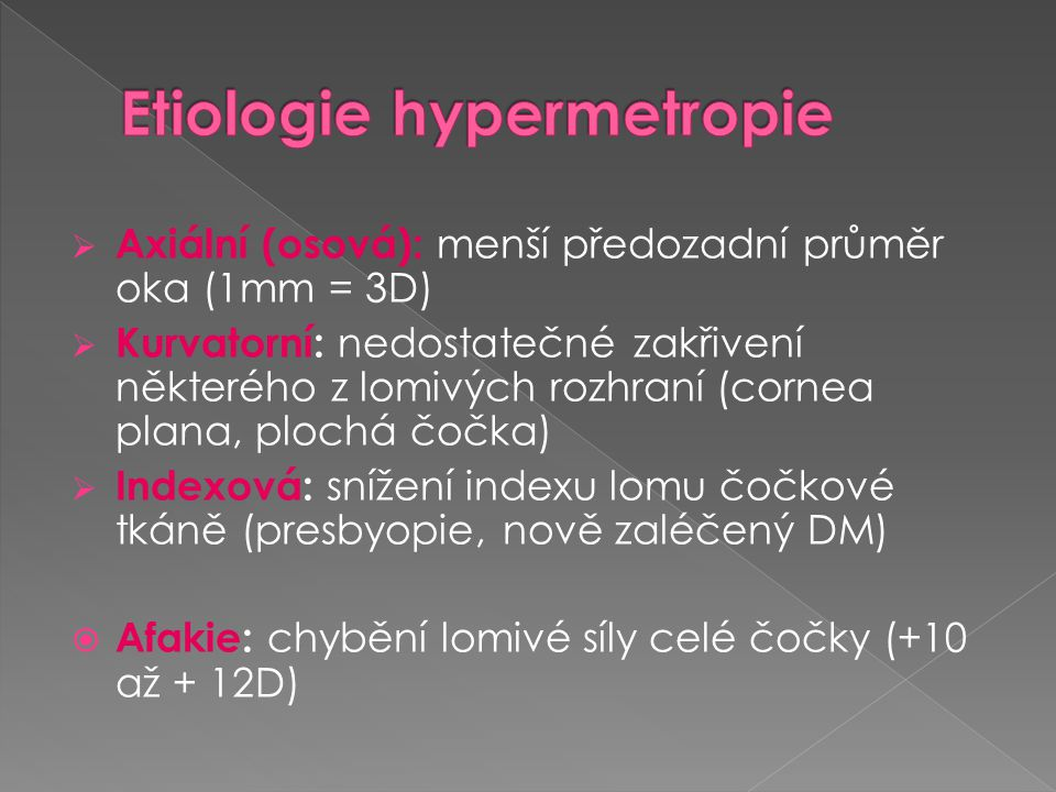 Etiologie hypermetropie
