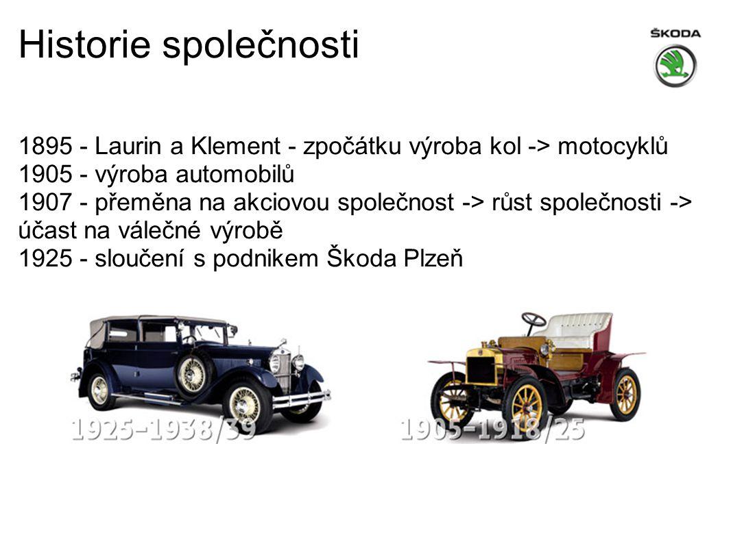 Historie společnosti 1895 - Laurin a Klement - zpočátku výroba kol -> motocyklů 1905 - výroba automobilů.