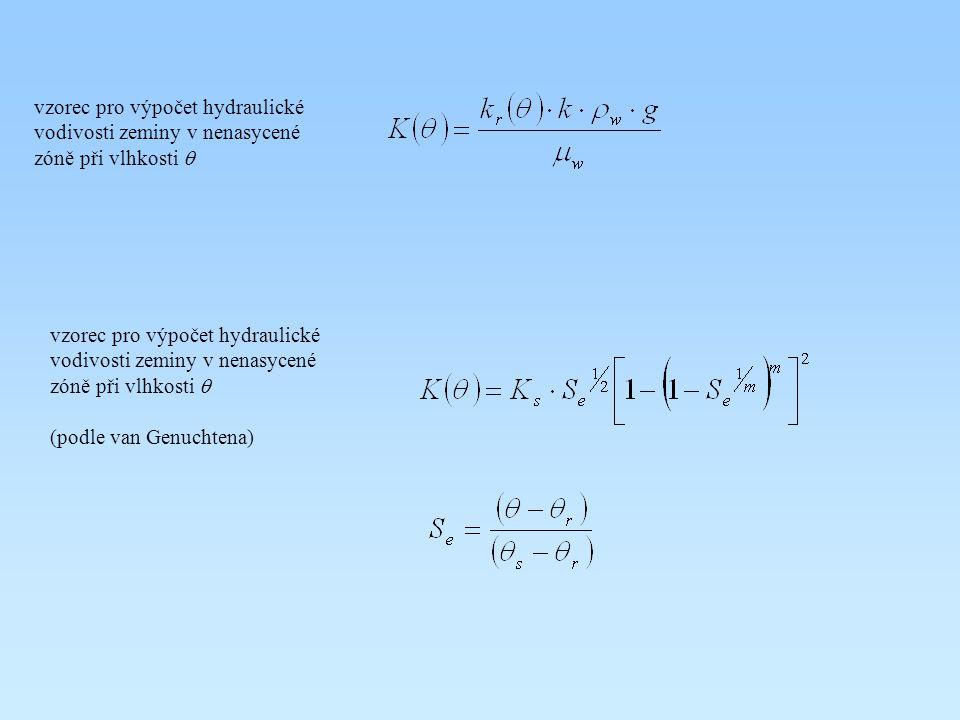 vzorec pro výpočet hydraulické vodivosti zeminy v nenasycené zóně při vlhkosti q