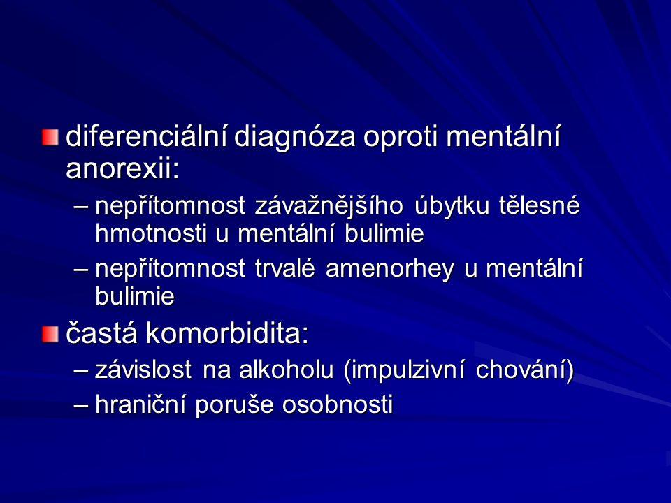 diferenciální diagnóza oproti mentální anorexii: