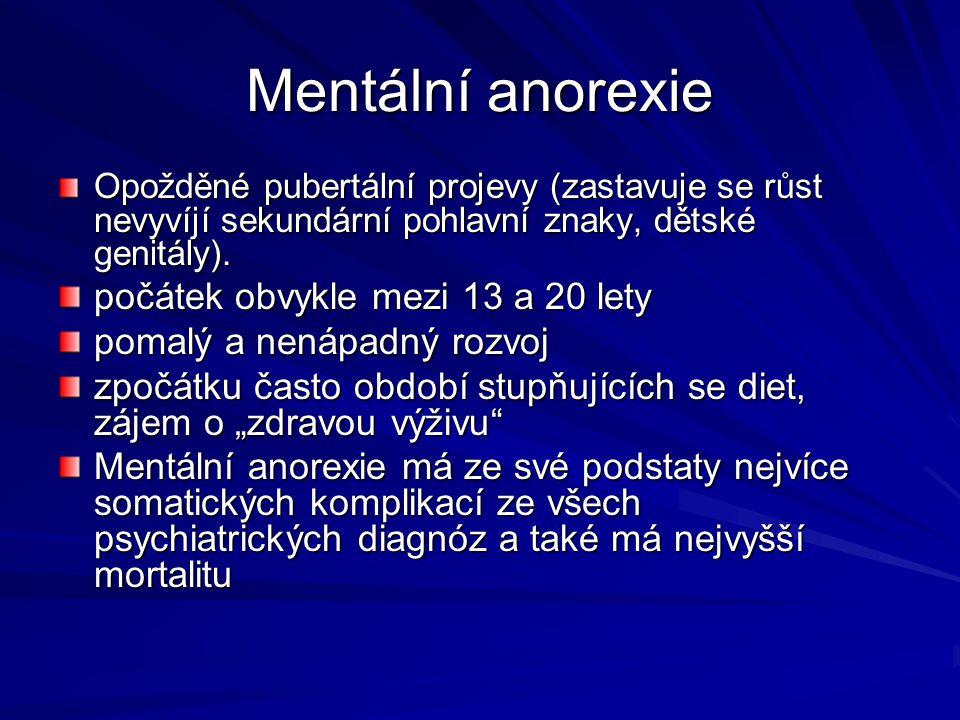 Mentální anorexie počátek obvykle mezi 13 a 20 lety