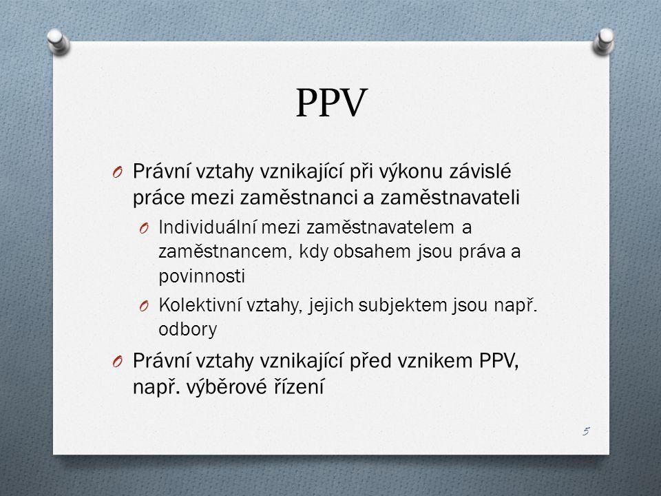 PPV Právní vztahy vznikající při výkonu závislé práce mezi zaměstnanci a zaměstnavateli.