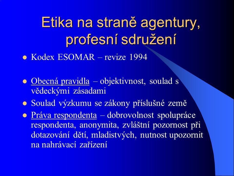 Etika na straně agentury, profesní sdružení