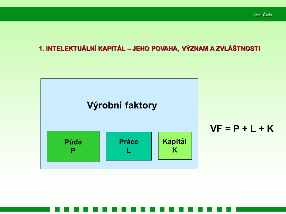 Výrobní faktory VF = P + L + K
