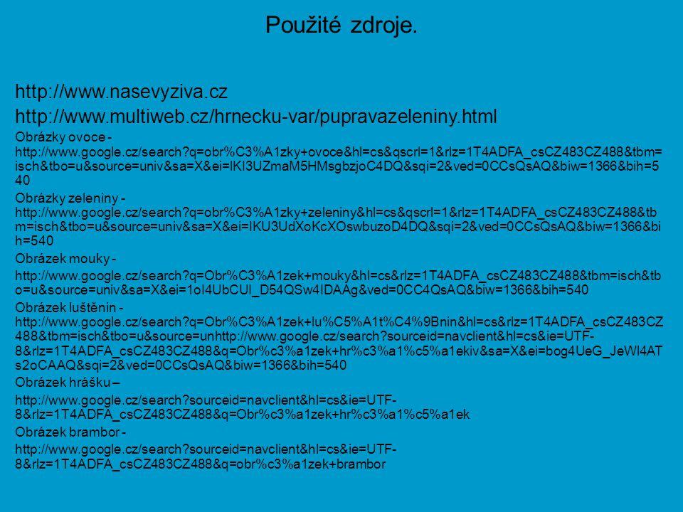 Použité zdroje. http://www.nasevyziva.cz