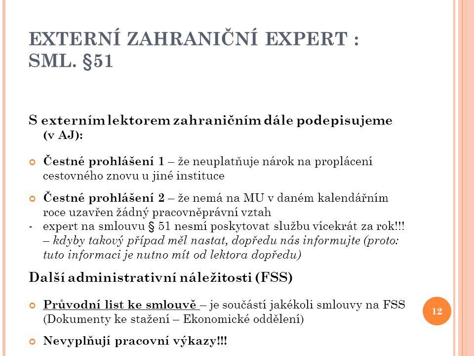 EXTERNÍ ZAHRANIČNÍ EXPERT : SML. §51