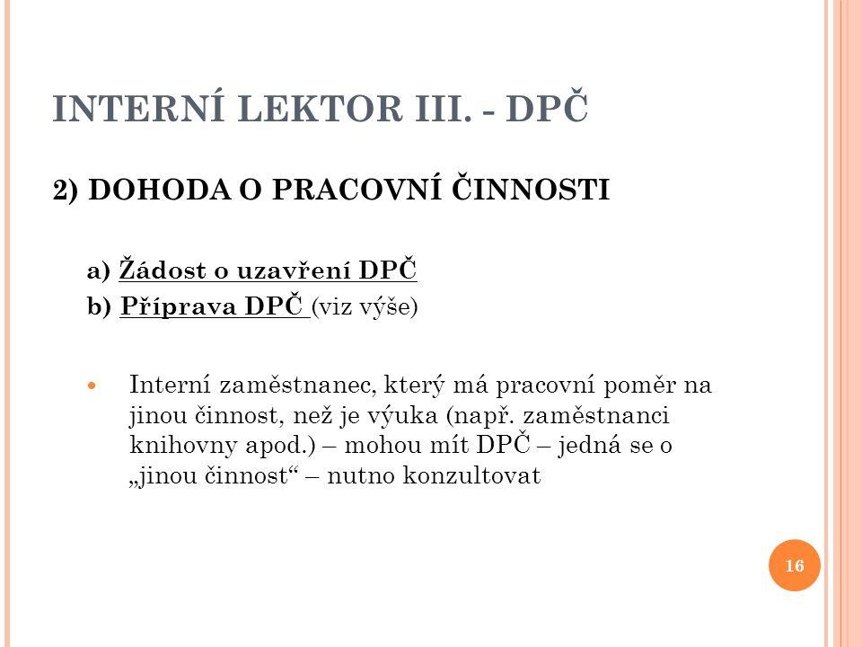 INTERNÍ LEKTOR III. - DPČ