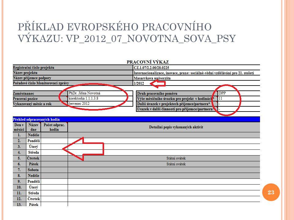 PŘÍKLAD EVROPSKÉHO PRACOVNÍHO VÝKAZU: VP_2012_07_NOVOTNA_SOVA_PSY