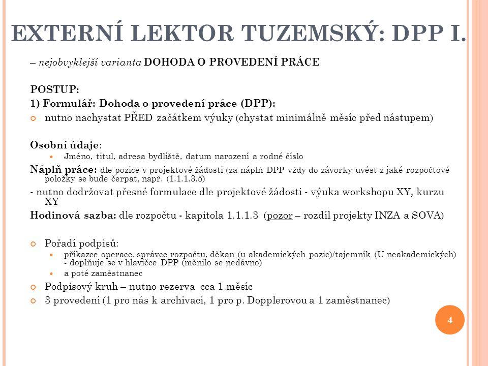 EXTERNÍ LEKTOR TUZEMSKÝ: DPP I.
