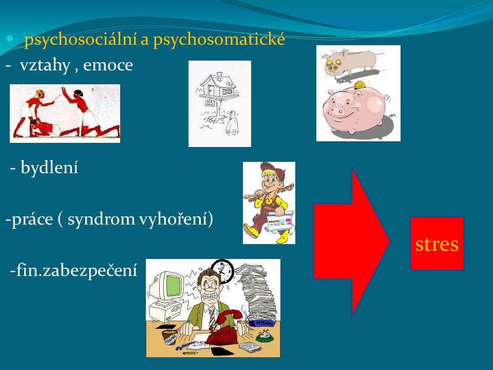 stres psychosociální a psychosomatické - vztahy , emoce - bydlení