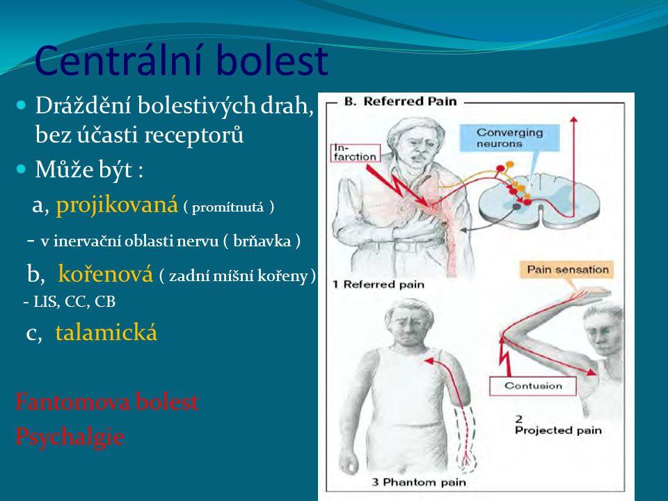 Centrální bolest Dráždění bolestivých drah, bez účasti receptorů